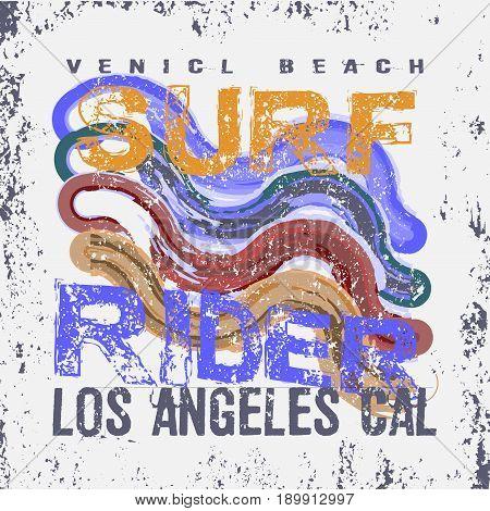 t-shirts surf rider LA Beach California surfing texture T-shirt inscription typography graphic design emblem
