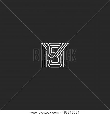 Monogram Ms Letters Logo Overlapping Lines Simple Hipster Typography Design Element, Combination M A