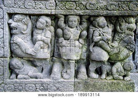 Stone Sculpture, relief in Sojiwan Temple, Java, Indonesia