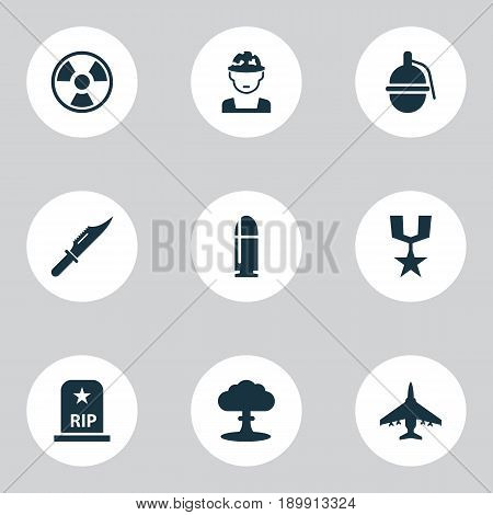 Combat Icons Set. Collection Of Order, Aircraft, Slug And Other Elements. Also Includes Symbols Such As Bomber, Grenade, Bio.