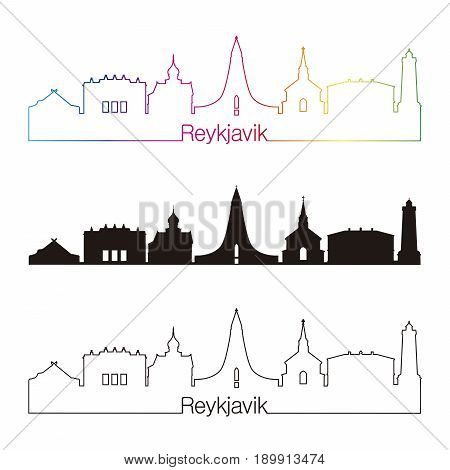 Reykjavik V2 Skyline Linear Style With Rainbow
