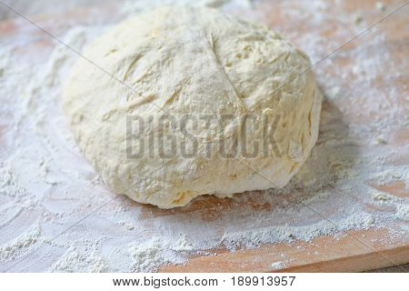 Bread dough kneaded and shaped into a ball for rising on a floured cutting board