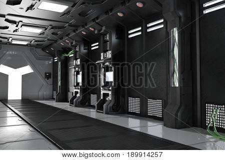 Dark corridor with door in futuristic sci-fi spaceship (3D Rendering)