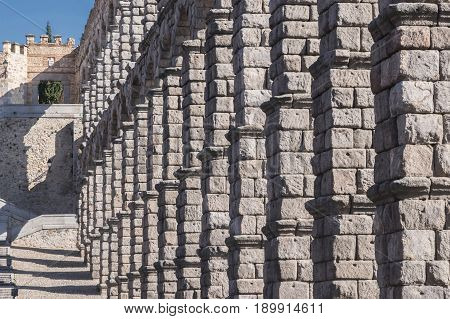 Partial view of the Roman aqueduct and wall located in the city of Segovia Unesco World Heritage Site Spain
