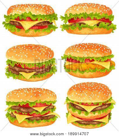 Modern watercolor design vector illustration set of big burgers on white background
