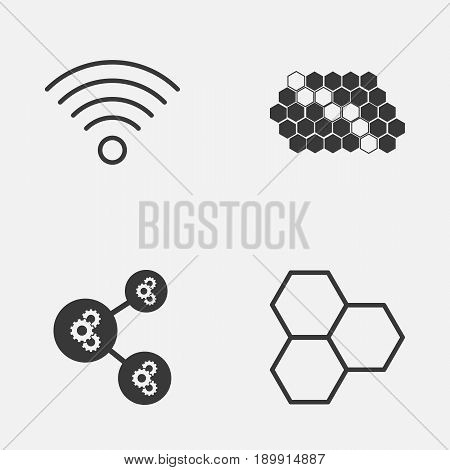 Robotics Icons Set. Collection Of Algorithm Illustration, Wireless Communications, Information Components And Other Elements. Also Includes Symbols Such As Gear, Illustration, Pattern.