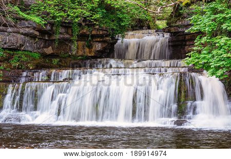 Cotter Force Waterfall - Cotter Force is a small waterfall on Cotterdale Beck a minor tributary of the River Ure near the mouth of Cotterdale a side dale in Wensleydale North Yorkshire