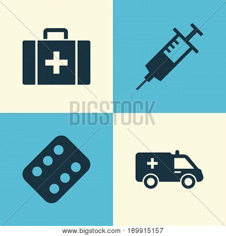 Drug Icons Set. Collection Of Chest, First-Aid, Remedy And Other Elements. Also Includes Symbols Such As Case, Capsule, Chest.