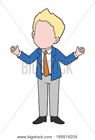 Cartoon of Successful Businessman Talking and standing
