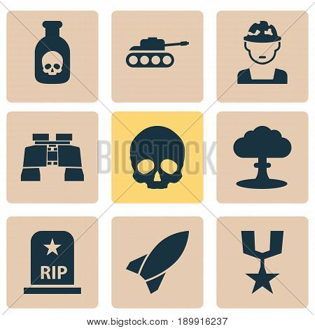 Combat Icons Set. Collection Of Glass, Cranium, Danger And Other Elements. Also Includes Symbols Such As Atom, Skull, Cranium.