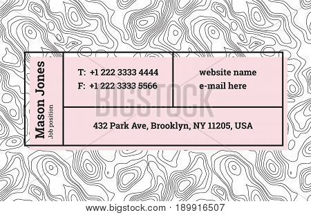 Super fashion design of a business card template. The modern trend, background contour maps and composition of information in rectangular blocks, bar. Abstract wavy topographic graphics backdrop.
