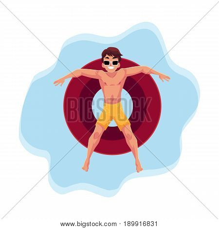 Young man in sunglasses resting on floating inflatable ring in star position on the water surface, top view cartoon vector illustration. Young man floating on inflatable ring, enjoying summer