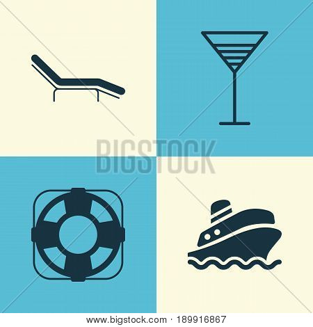 Travel Icons Set. Collection Of Chaise Longue, Shipping Tour, Aperitif And Other Elements. Also Includes Symbols Such As Tour, Cocktail, Beach.