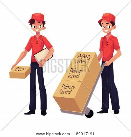 Courier, delivery service worker holding package, pushing dolly, hand cart with boxes, cartoon vector illustration isolated on white background. Full length portrait of young delivery service man