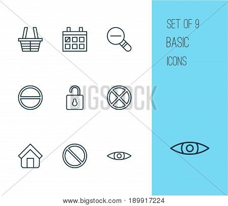 Network Icons Set. Collection Of Glance, Zoom Out, Obstacle And Other Elements. Also Includes Symbols Such As Basket, Wrong, Calendar.