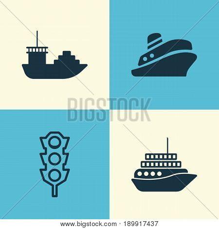 Transport Icons Set. Collection Of Cruise, Tanker, Travel Boat And Other Elements. Also Includes Symbols Such As Yacht, Tanker, Tour.