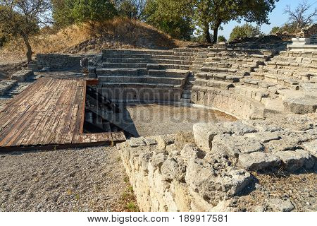 Odeion And Bouleuterion In Ancient City Troy. Turkey