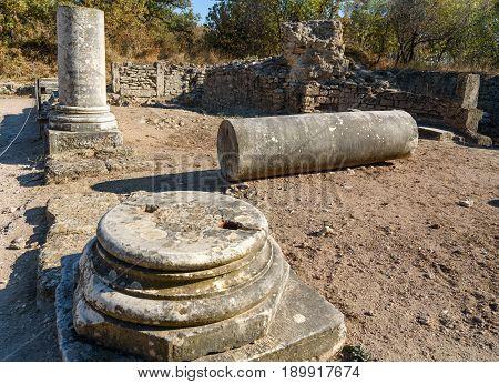 Columns In Ancient City Troy. Turkey