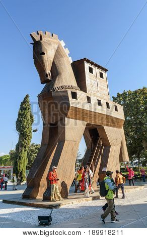 Canakkale Turkey - October 30 2016: Replica of wooden Trojan horse in ancient city Troy. It is tale from the Trojan War about the subterfuge