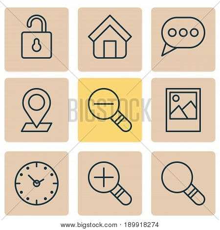 Network Icons Set. Collection Of Image, Zoom Out, Time And Other Elements. Also Includes Symbols Such As Out, Magnifier, Magnifying.