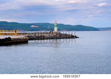 View Of Embankment And Lighthouse In The Evening. Canakkale, Turkey