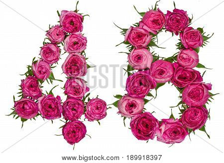 Arabic Numeral 48, Forty Eight, From Red Flowers Of Rose, Isolated On White Background