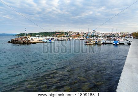 View Of Embankment And Yacht Harbor In Canakkale, Turkey