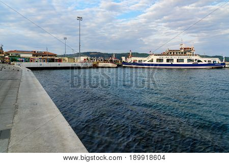 Canakkale Ferry Pier And Boat In The Morning. Turkey