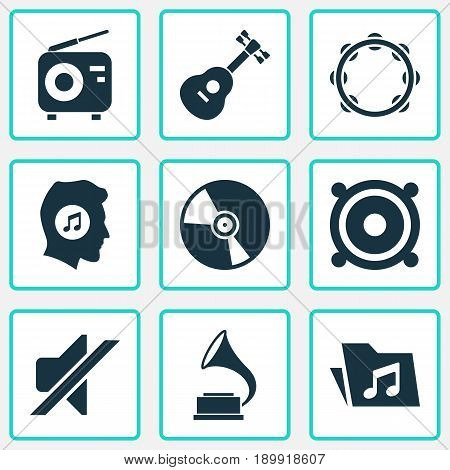 Music Icons Set. Collection Of Dossier, Instrument, Timbrel And Other Elements. Also Includes Symbols Such As Volume, Music, Mute.