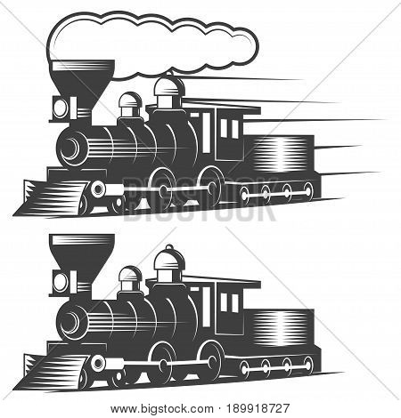 Locomotive vector illustration in monochrome vintage style. Design element for logo, label, emblem