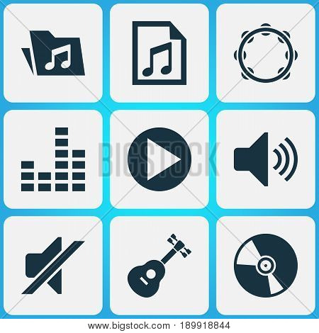 Multimedia Icons Set. Collection Of Dossier, Start, Timbrel And Other Elements. Also Includes Symbols Such As Cd, Mixer, Play.