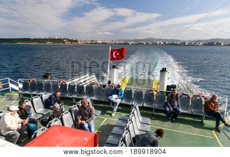 Passengers On Ferry Boat, Crossing The Dardanelles From Canakkale To Gallipoli, Turkey