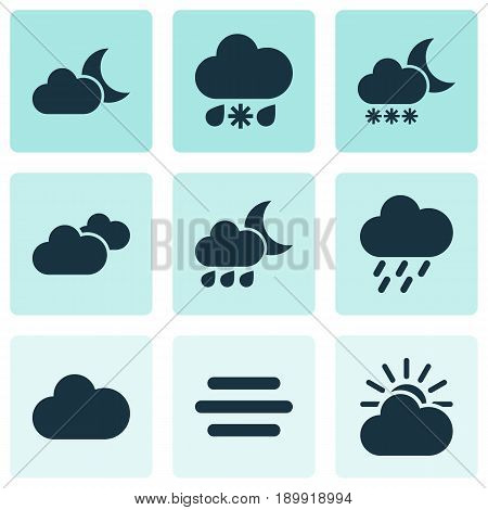 Air Icons Set. Collection Of Douche, Moonlight, Weather And Other Elements. Also Includes Symbols Such As Cloud, Nightly, Snowy.