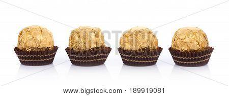 Closeup Chocolate balls on white background. food