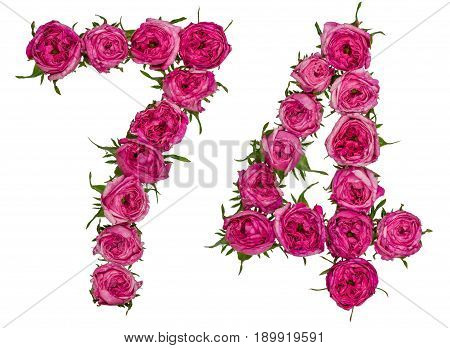 Arabic Numeral 74, Seventy Four, From Red Flowers Of Rose, Isolated On White Background