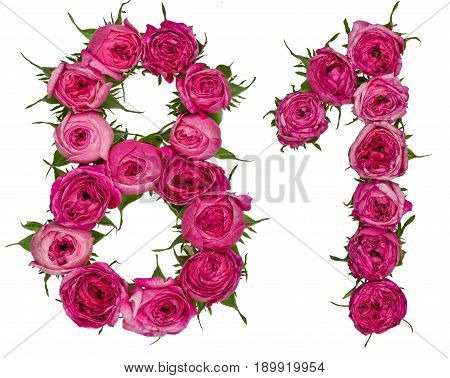 Arabic Numeral 81, Eighty One, From Red Flowers Of Rose, Isolated On White Background
