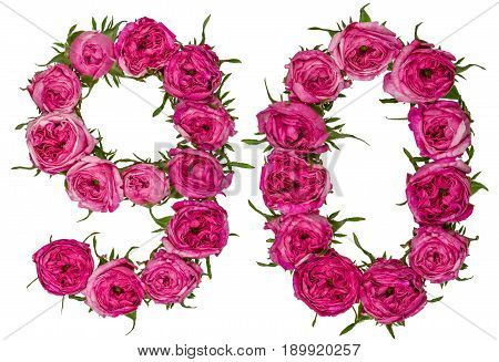 Arabic Numeral 90, Ninety, Nine, From Red Flowers Of Rose, Isolated On White Background