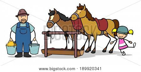 Girl next to horse and farmer on ranch or riding club