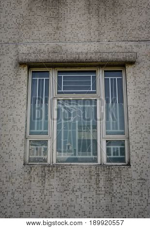 Glass Window Of An Old Apartment