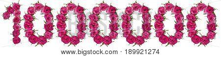 Million Scarlet Roses, Isolated On White Background