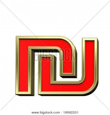 Schekel von Rot glänzend Goldrahmen Alphabet festgelegt ist, isolated on White. Computergenerierte 3D ph