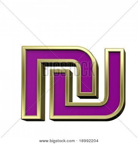 Schekel von violett glänzend Goldrahmen Alphabet festgelegt ist, isolated on White. Computergenerierte 3D