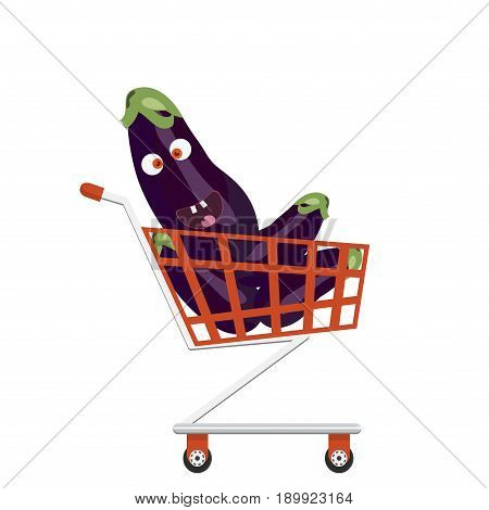 Shopping trolley full of eggplants. Brinjal character face. Smiling eggplant in a shopping cart.
