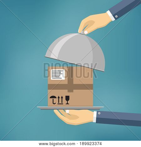Delivery concept. Hand holding package on the cloche. Flat style