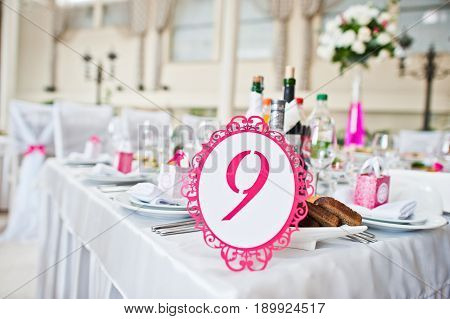 Wedding Guest Number Of Table 9 At Wedding Hall.