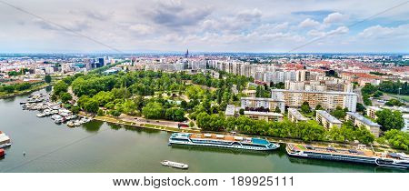 Aerial panorama of Strasbourg city center with a river - France, Bas-Rhin