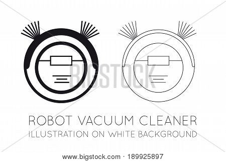 Robot vacuum cleaner on a white background. Vector flat illustration on white background