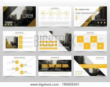 Yellow Abstract presentation templates Infographic elements template flat design set for annual report brochure flyer leaflet marketing advertising banner template