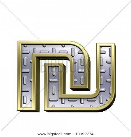 Schekel aus Stahl treten Platte mit Goldrahmen Alphabet Set, isolated on White. Computer generat