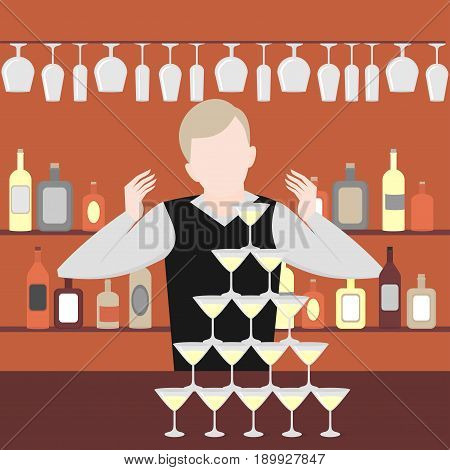 Barman show. Night life in bar. Alcoholic cocktails and bottles icon set. Flat pyramid of glass alcoholic martini, champagne with bubbles isolated, poster for restaurant bar menu